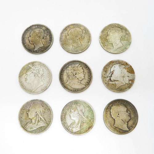 12 - Victorian and Georgian half crowns x9 including 1817 1821 1874 x2 1878 1836 1893 and 1900