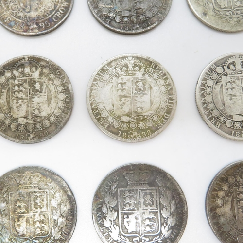 14 - Victorian half crowns x10 1884 1889 1892 1876 1888 1881 1896 1891 1890 and 1895