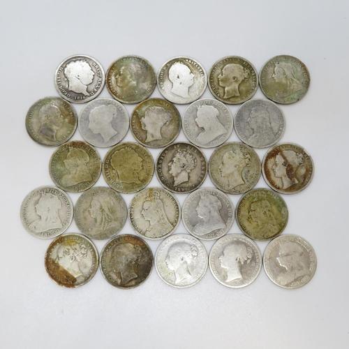 16 - George II and George IV Victorian shillings 1816 1817 1826 1891 x3 1836 x2 1876 1881 x3 1889 x2 1895...