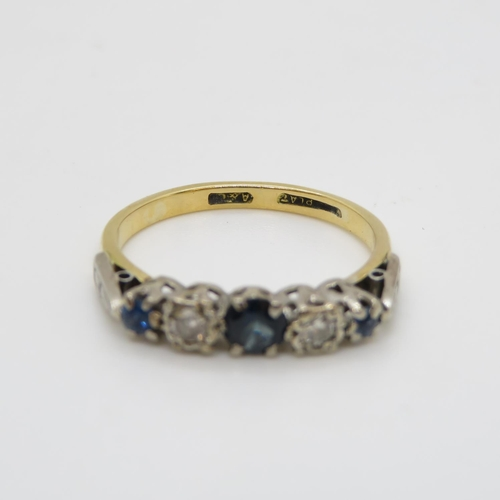 19 - 18ct sapphire and diamond 5 stone ring 3.17g size O