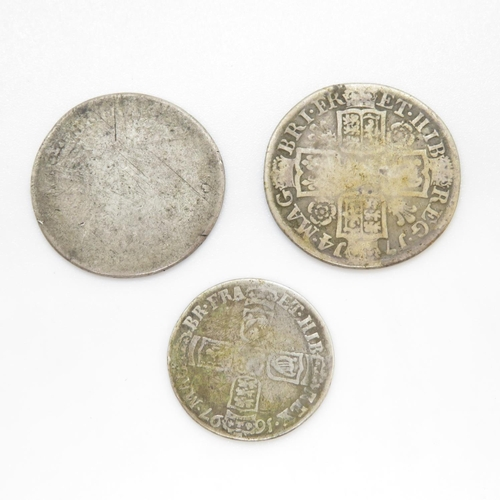 2 - 1714 William III shilling and 1897 sixpence