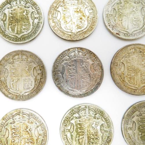21 - George V half crowns 1911 - 1919 (13 in total) 180g