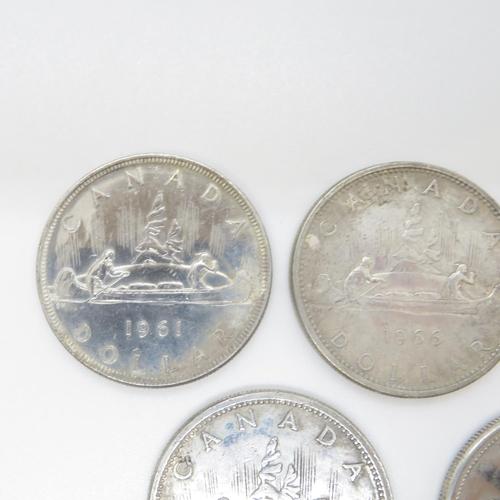 23 - 5x silver dollars 1961 1965 x2 1966 1967