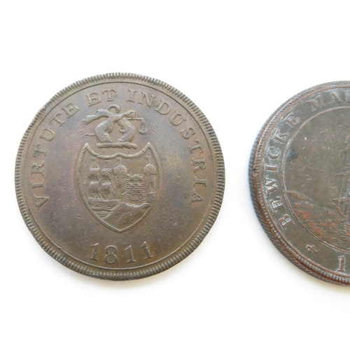 27 - Bronze Georgian tokens Bewick Main Colliery 1811 B and B Copper Company 1811