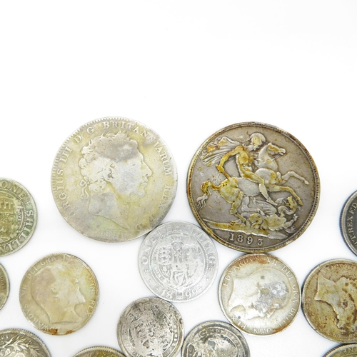 33 - Georgian Edwardian Victorian silver coins 152g