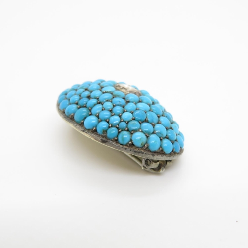 51 - Antique turquoise and diamond brooch