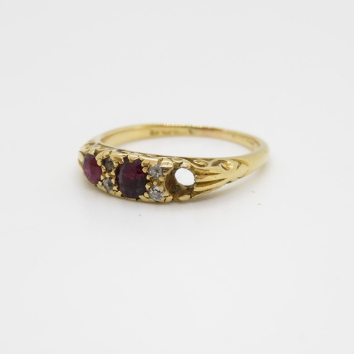53 - 18ct Edwardian ruby and diamond ring one stone missing 3.5g size O