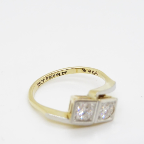 54 - Antique 18ct two stone diamond ring each stone approx .3ct  3.48g good diamonds size M