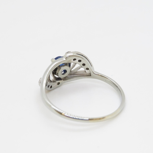 55 - Good sapphire and diamond ring in 18ct white gold 2.74g size R