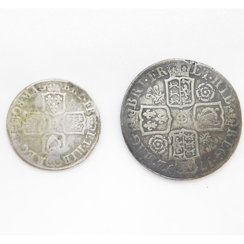 59 - Queen Anne half crown 1712 and shilling 1708