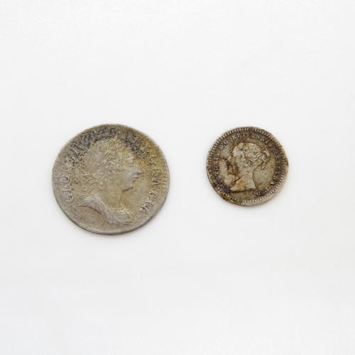 6 - 1763 George III and 1843 George III coins