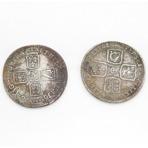 60 - William II shilling 1696 and 1745 shilling