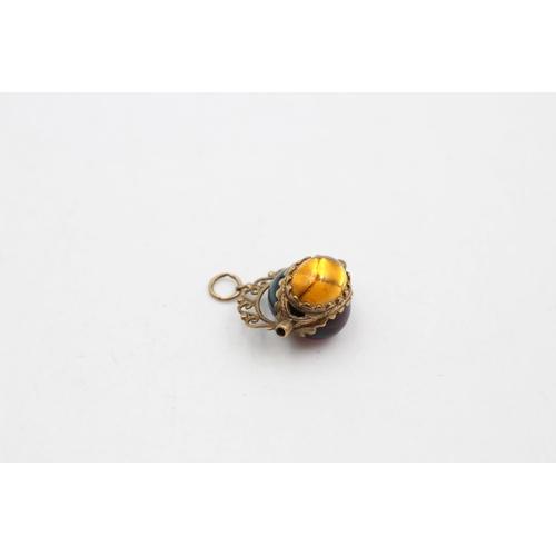 9ct Gold Vintage gemstone Paste Spinner Fob Pendant (7.3g)