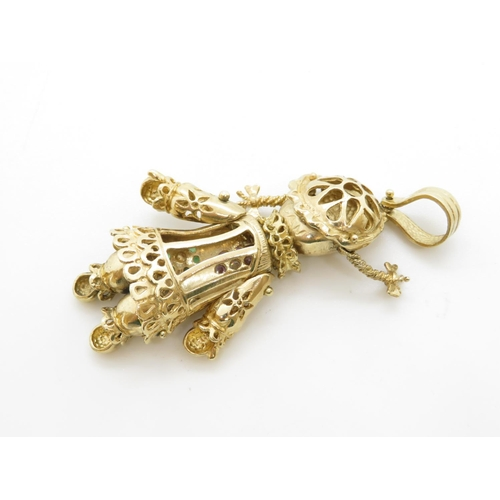 13 - Large articulated doll pendant HM 9ct gold 15g