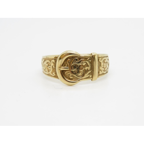 30 - Vintage 9ct gold buckle ring 4.4g size Y