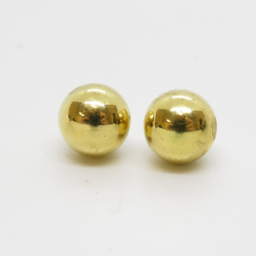35 - Pair of 18ct ball earrings  1g