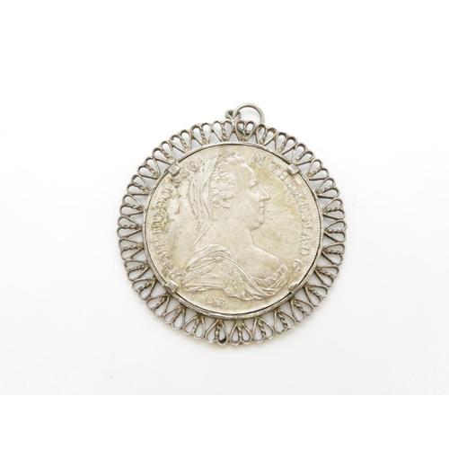 38 - Therese coin pendant with surround