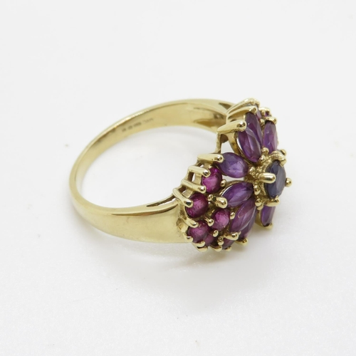 4 - 9ct ring 4.3g size Q with amethyst and garnet