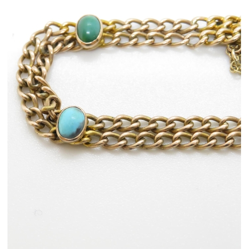 7 - 9ct gold and turquoise bracelet 8.5g