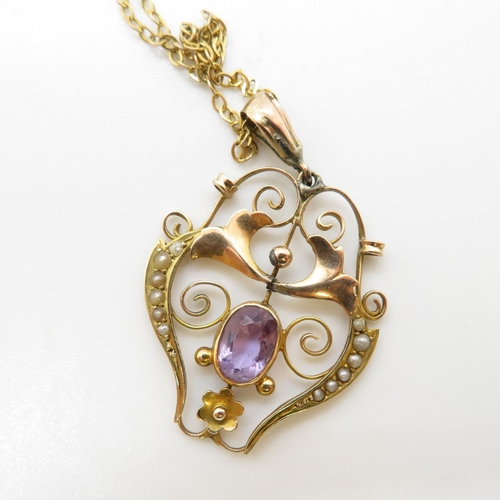 9 - Amethyst and pearl art deco style pendant 9ct chain 3.2g