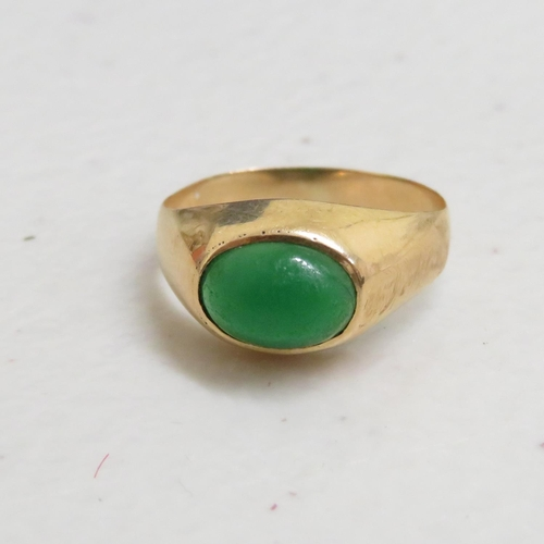 26 - 18ct and cabochon emerald ring vintage 1.7g size I