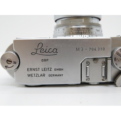 210 - Leica M3 - 704310 with top attachable light meter fully working - near mint condition with leather c...