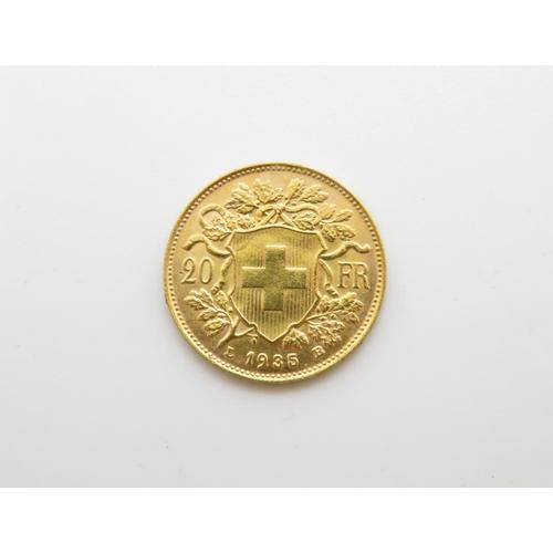Helvetia 20 Francs 1935 22ct gold