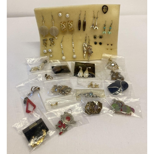 18 - 32 pairs of stud and drop style costume jewellery earrings to include vintage and modern designs....