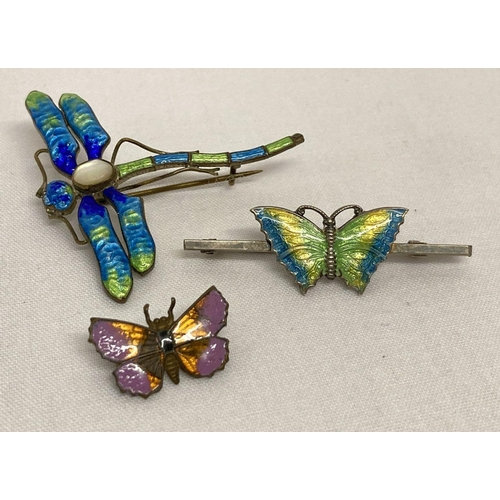 3 - A vintage silver bar brooch set with green, yellow and blue enamelled butterfly.  Together with a vi...