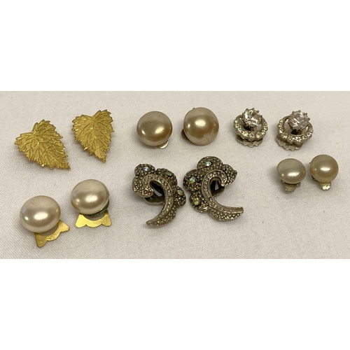 35 - A collection of vintage clip-on earrings to include stone set, some with silver backs.