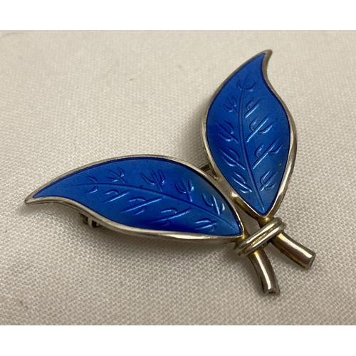 65 - A vintage David Andersen silver and blue guilloche enamel double leaf brooch.  Reverse of brooch mar...