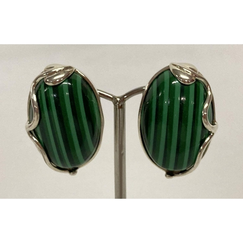 9 - A pair of 925 silver clip-on earrings set with green striped stone, in an Art Nouveau style setting....
