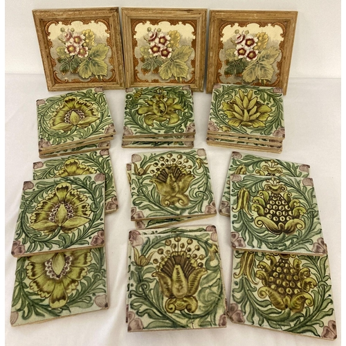 1201 - 20 William De Morgan green and pink glaze floral design tiles in 5 different patterns. Some tiles wi...