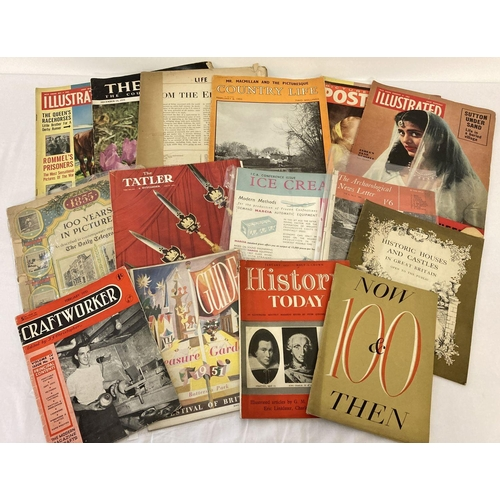 1157 - A collection of 18 assorted magazines from the 1950's to include Tatler, Picture Post, Life & Illust...
