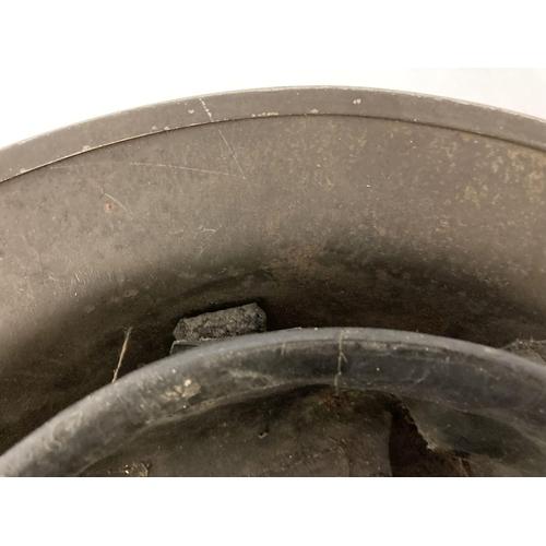 1039 - British MkII steel helmet painted khaki with stencilled 'LMS' (London Midland Scottish Railway). Let...