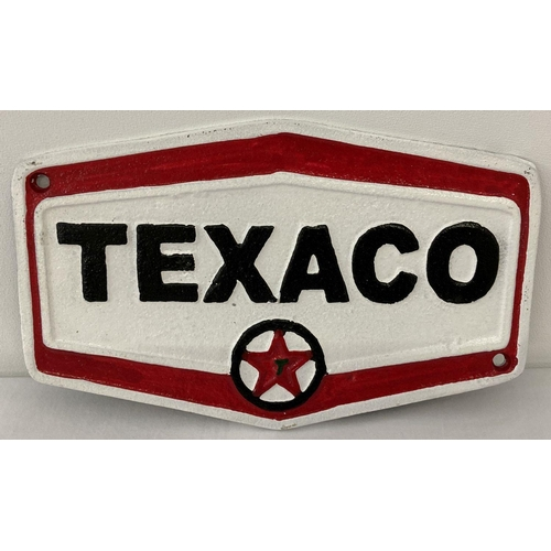 1225 - A hexagonal shaped painted cast metal Texaco wall plaque, with fixing holes. In black, white and red...