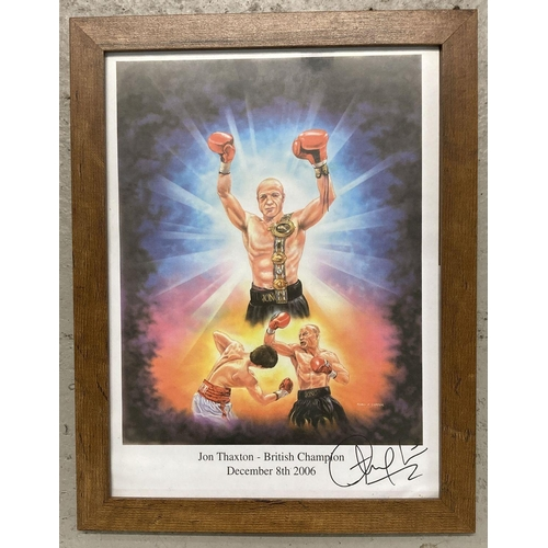 1236 - Jon Thaxton - British Lightweight boxing Champion 2006, autographed colour print by Robin Carter.  F...