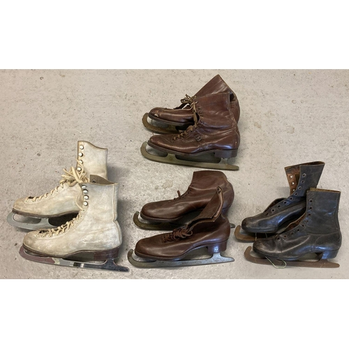 1294 - 4 pairs of vintage leather ice skating boots to include Aston, Mercurio and Becker-Jackson.