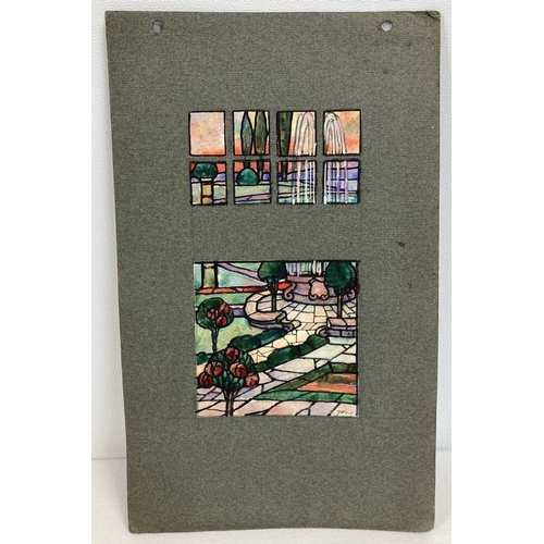 Watercolour sketch - garden & fountain from the TW Camm stained glass studio Smethwick. Design #7029, of Art Nouveau design, 9 panels of artwork mounted o card. Attributed to Florence Camm. Card approx. 23.5cm x 14.5cm.