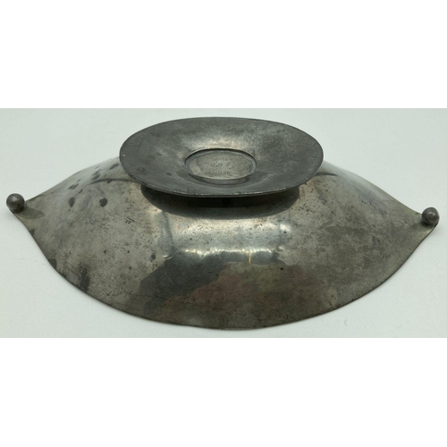 1018 - An Arts & Crafts Just Andersen Danish Pewter oval footed dish with ball shaped finial detail. Stampe...