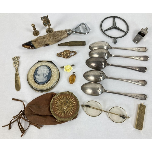 1308 - A small collection of assorted vintage items to include cutlery and vanity items.  Lot includes a si...
