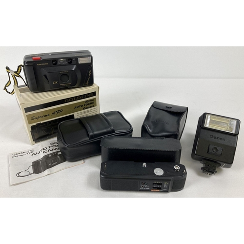 1215 - A boxed Goldline Supreme AFP F4.5/35mm camera with case and instructions. Together with a Canon Spee...