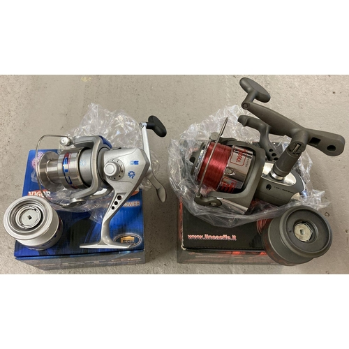 1248 - A new boxed Vigor LN 70FD Front Drag Power fishing reel with line. Together with a Vigor CT FDP Hi-S...