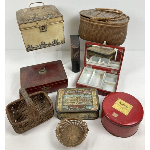 1332 - A collection of vintage tin, baskets and boxes. To include miniature shopping basket, sewing basket,...