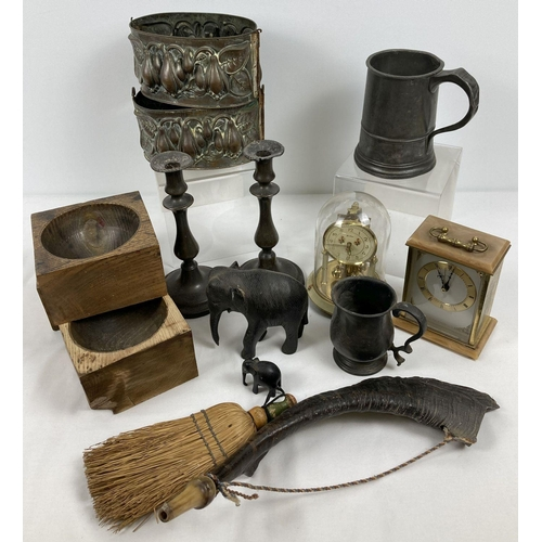 1335 - A collection of mixed items to include a a horn made from an antler, carved wooden elephants, pewter...