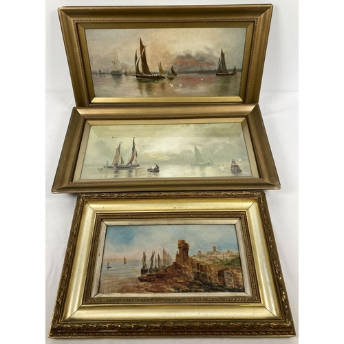 1403 - A pair of gilt framed and glazed 19th century oil on canvas paintings of sailing boats. Together wit...