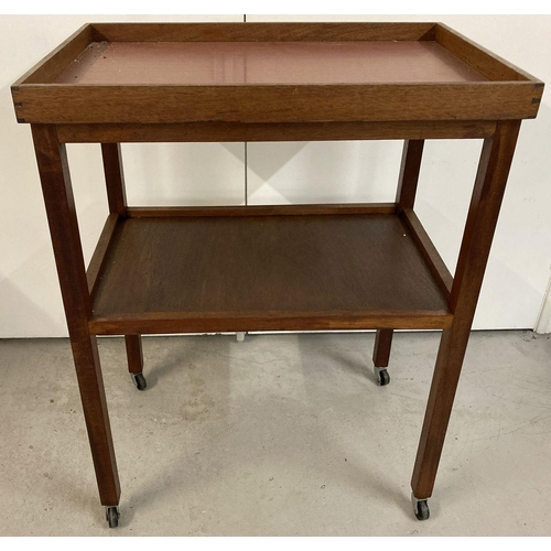 1439 - A vintage teak 2 tier tea trolley, top shelf is a removeable butlers tray. Approx. 89 x 69 x 46 cm.