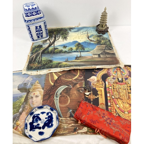1117 - A collection of assorted vintage Oriental items to include ceramics & pictures. Lot includes: a sign...