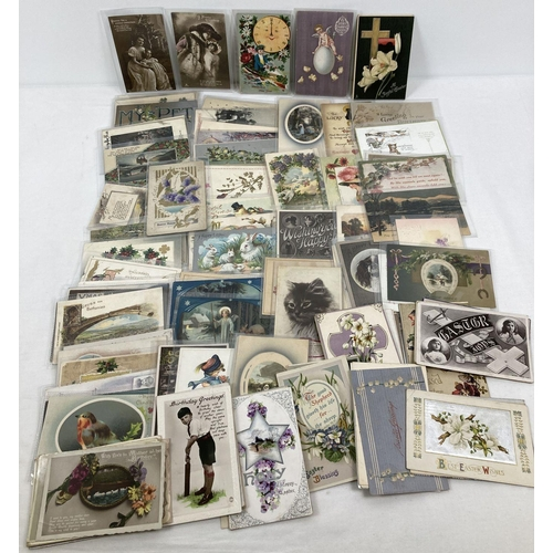 1185 - Approx. 130 assorted Edwardian greetings cards to include: Easter, Christmas, Wedding blessings, Bir...