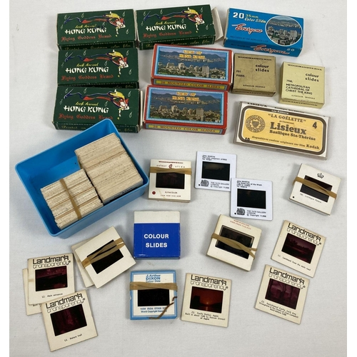 1193 - A box of assorted vintage souvenir photographic slides to include Hong Kong, France & Scotland. Lot ...